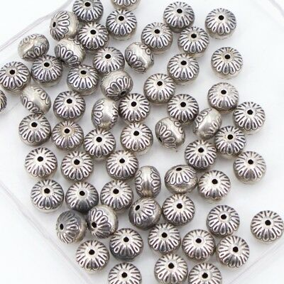 VTG Sterling Silver - Lot of 63 NAVAJO Stamped Bench Beads NOT SCRAP - 52.5g