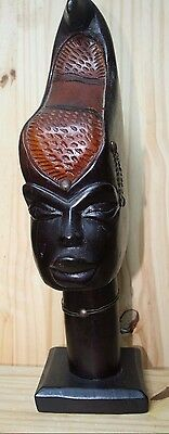 "Vintage Antique African hand carved Head Solid Wood Tribal 17"" Statue Kenya No 2"