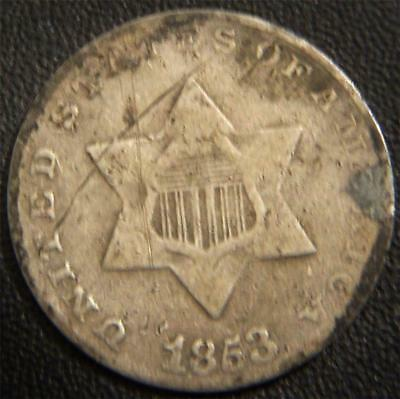 1853 Silver Three Cent Piece - The Shield Shows Over the Star