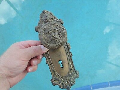 Rare Antique Vintage Solid Brass Figural Head Face Handle Door Knobs & Plates