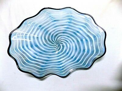 Hand Blown Glass Platter #903 Art Bowl Tray Vivid White Spiral With Copper Blue