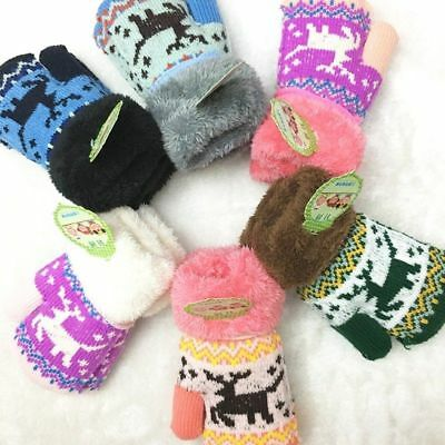 Christmas Infant Kids Hot Children Winter Unique  Gloves Thick Gift Knitted