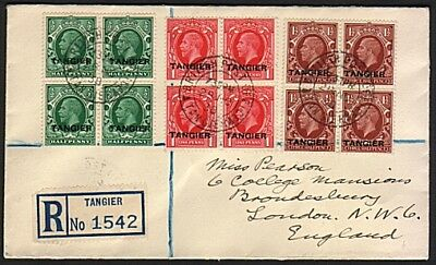 MOROCCO AGENCIES TANGIER 1938 GV blocks on registered cover to London......77159