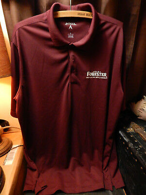 OLD FORESTER Polo Shirt Large AMERICAS FIRST BOTTLED BOURBON Trail burgandy KY