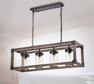 Daniela Chic Antique Metal Wood Bubble Glass Cylinders Rectangular Chandelier