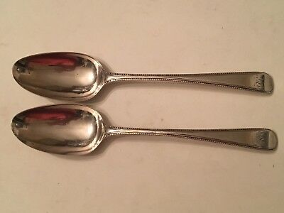 Antique Rare Pair Bottom Marked Sterling Silver Tablespoons George Jones 1739