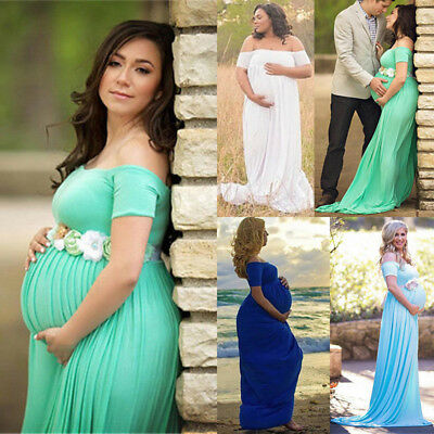Pregnant Womens Lace Off Shoulder Maxi Long Dress Maternity Gown Photo Shoot Hot