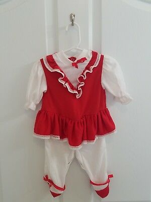 ~Vintage Baby Girl Red White Ruffle Dress Footed One Piece Size 6-12 Months