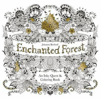 Enchanted Forest : An Inky Quest and Coloring Book by Johanna Basford (2015, Pa…