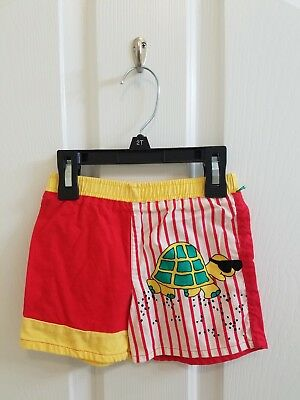 Vintage Boy Red Yellow White Striped Turtle Shorts Size 3T
