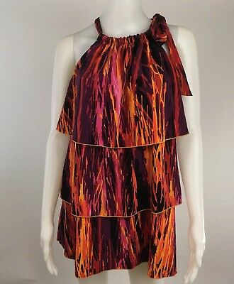 Lane Bryant Size 14/16 W Womens Blouse Halter Tie Neck Ruffles Black Orange