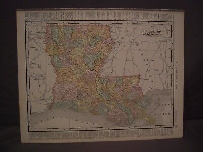 Antique 1898 Color Map of New Orleans or Louisiana from Rand McNally Atlas