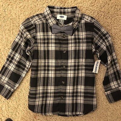 NWT Old Navy Boys Size 5T Blue Plaid Flannel/Bow Tie