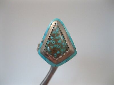 Lot 80 - Native American Sterling Silver & Spiderweb Turquoise Ring signed Manny
