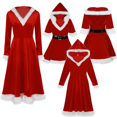 Nice Women Red Velvet Hooded Long/Short Maxi Tutu Dress Mrs Claus Santa Costume