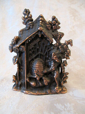 Cast Iron Still Bank Cottage / Bears & Bee Hive Signed BB or RB & Co