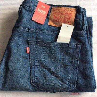 Levi's Men's NWT 569 0218 30x30 Herbaceous Blue Stretch Jeans Loose Straight Fit