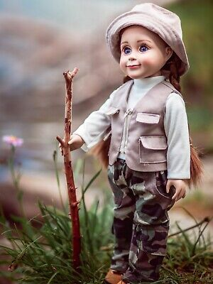 18 Inch Doll Clothes FISHING OUTFIT, HAT, PANTS, SHIRT, VEST Fits American Girl