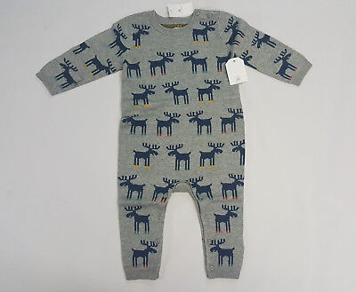 NWT Boys Baby Gap Size 6-12 Months Gray Moose Reindeer Sweater Romper