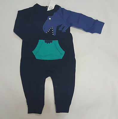 NWT Boys Baby Gap Size 0-3 Months Blue Knit Dinosaur Pants Romper