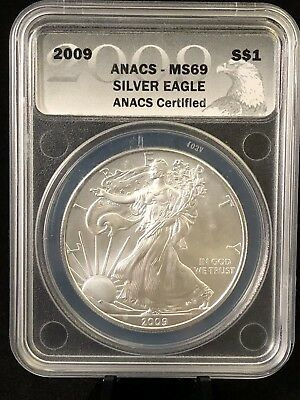 2009 American Silver Eagle ANACS Certified MS69 - Near Perfect Coin