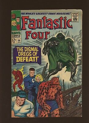 Fantastic Four 58 FN 5.5 * 1 Book * Marvel! The Dismal Dregs of Defeat! 1967!