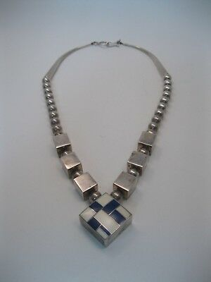 Lot 91 - RARE Ray Tracey Navajo Sterling Silver Necklace w Inlay
