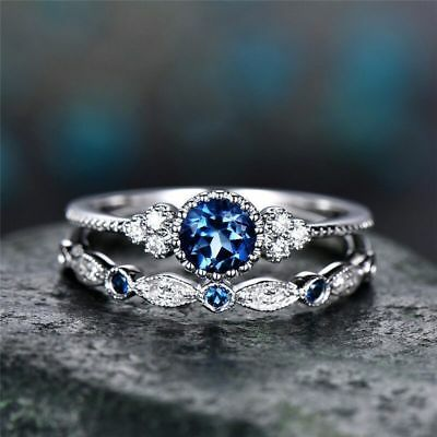 Women Fashion 925 Silver Round Cut Sapphire Couple Wedding Ring Jewelry Size6-10