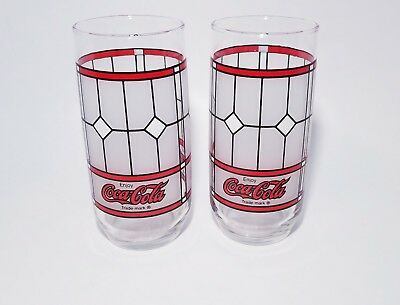 Set of 2 Vintage Coca Cola Coke Frosted Stained Glass Drinking Glasses