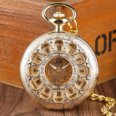 Yellow Golden Handwind Mechanical Pocket Watch Chain Luxury Skeleton Pendant