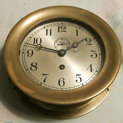 "Vintage Chelsea Round Brass Ship Clock, 7.3"" X 2.7""   Used - Vg"