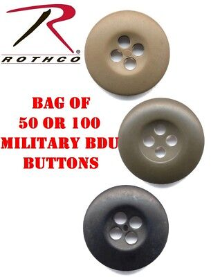 Black Olive Drab Green Or Khaki Military BDU Buttons 50 Or 100 Bag rothco 205