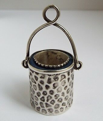 Nice English Antique 1900 Solid Sterling Silver Chatelaine Bucket Thimble Holder