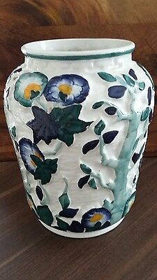 H J WOODS Ltd vase rare indian tree pattern in blue and green