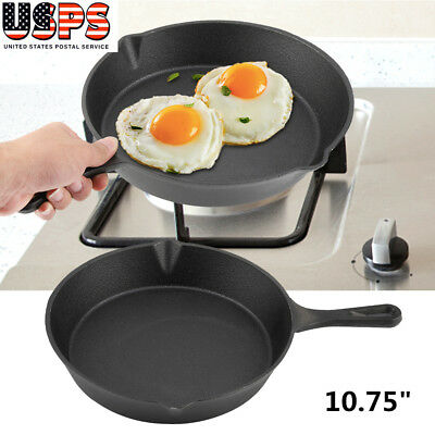 Cast Iron Skillet Frying Pan Pot Cookware Deep Frying Pan Kitchen Outdoor BBQ