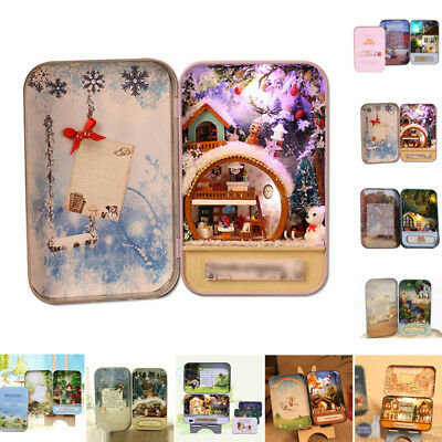 New DIY Handcraft Miniature Project Dolls House The Snow/ Dream Tin Box Theatre