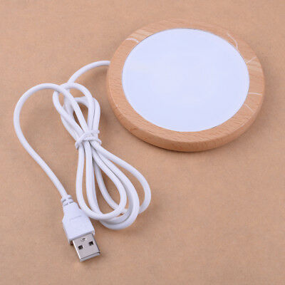 Electric USB Cup Warmer Pad Keep Hot Drink Coffe Heater Tempered Glass & Wooden