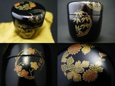 Japanese Traditional Lacquer Wooden Tea caddy SHIKUNSHI makie Chu-Natsume (1105)