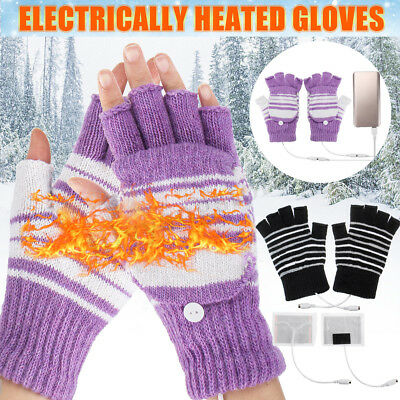 Electric USB Heated Gloves Winter Warmer Knitting Thermal Glove Xmas Gift