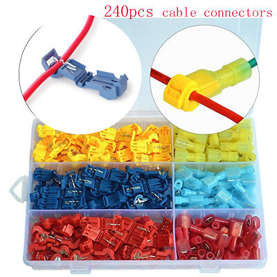 240PCS Terminal Connector Insulated 22-10 AWG T-Taps Quick Splice Wire Combo Kit