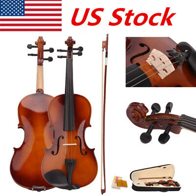 Full Size 4/4 Natural Acoustic Violin Fiddle with Case Rosin Bow