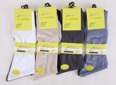 12 Pairs Mens Assorted Colours, Silk Feel Sheer Socks, Size 6 - 11.