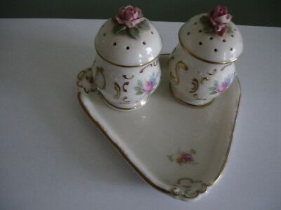 Cruet Set Salt & Pepper With Tray Has Crown And N On Bottom New