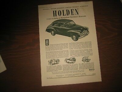 RARE Original Vintage Jan 1949 Advertising FX GMH Holden Car Australian Advert