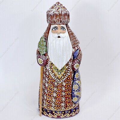 """7"""" Santa Claus Papa Noel Statue Christmas Russian Hand Carved Wooden Figure"""