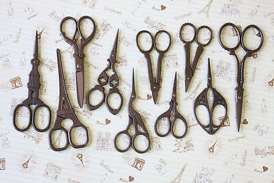 Vintage Style MIni Scissors antique old bronze retro sewing quilting craft tool
