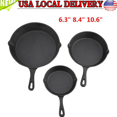 3PCS Frying Pan Cookware Cast Iron Skillet Deep Frying Pan Kitchen Outdoor BBQ