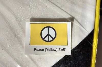 Lot of six Yellow Peace Sign Flags 3 x 5 with metal grommets for flying/hanging