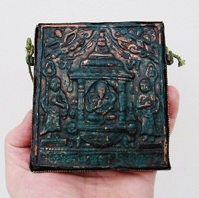 Old Indian Hindu Copper Wall Hanging Shrine - Ganesh In A Temple With Guards