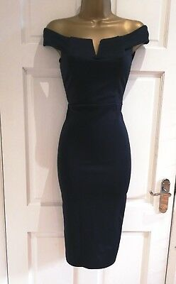 New Womens Bardot Off Shoulders Navy Midi Bodycon Party Evening Dress 8 - 14
